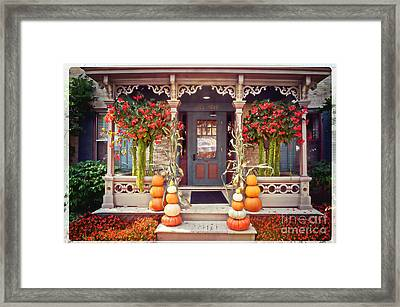 Halloween In A Small Town Framed Print by Mary Machare