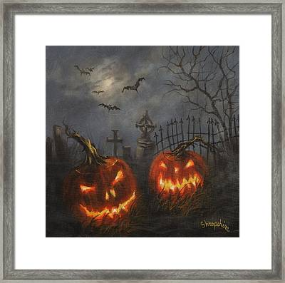 Halloween On Cemetery Hill Framed Print by Tom Shropshire