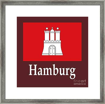 Hamburg, Germany Flag And Name Framed Print by Frederick Holiday
