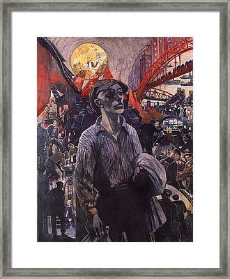 Hamburg Shipyard Workers In 1928 Framed Print by Mountain Dreams