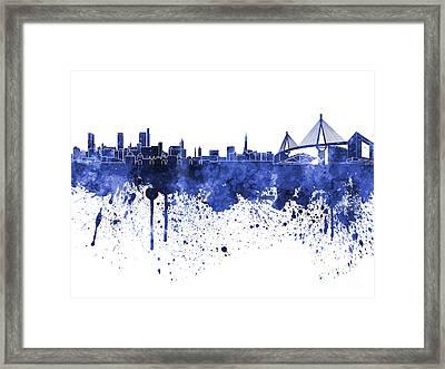 Hamburg Skyline In Blue Watercolor On White Background Framed Print by Pablo Romero