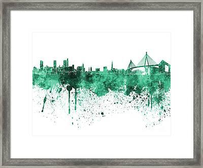 Hamburg Skyline In Green Watercolor On White Background Framed Print by Pablo Romero