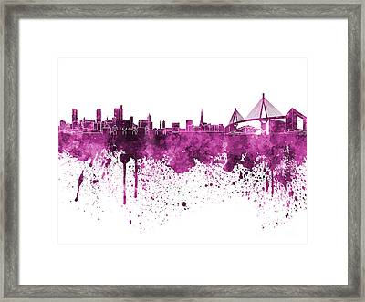 Hamburg Skyline In Pink Watercolor On White Background Framed Print by Pablo Romero