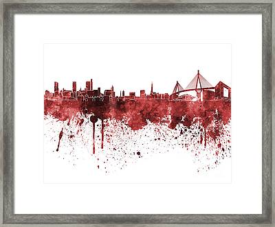 Hamburg Skyline In Red Watercolor On White Background Framed Print by Pablo Romero
