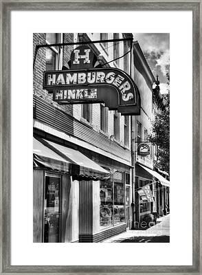 Hamburgers In Indiana Bw Framed Print by Mel Steinhauer
