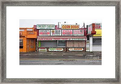 Hampton Beach Food Vendors Framed Print by Edward Fielding