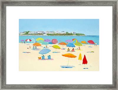 Hampton Beach Umbrellas Framed Print by Jan Matson