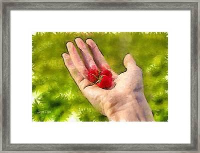 Hand And Raspberries - Da Framed Print by Leonardo Digenio