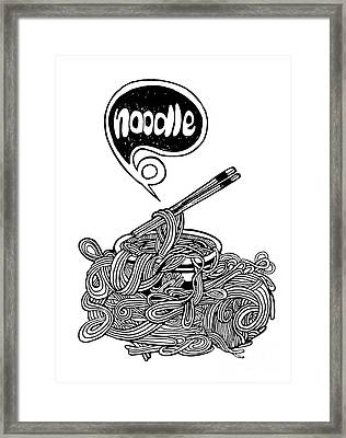 hand drawn doodle Noodle background Framed Print by Pakpong Pongatichat