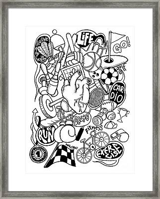 Hand Drawn Doodle Sport Equipment, Illustrator Line Tools Drawin Framed Print by Pakpong Pongatichat