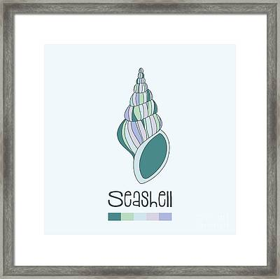 Hand Drawn Shell In Turquoise Framed Print by Jane Rix