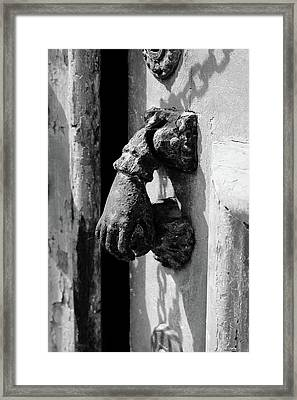 Hand Shaped Door Knob Framed Print by Marco Oliveira