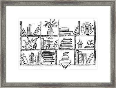 Handmade Graphic Picture Bookshelf Framed Print by Julia Faranchuk
