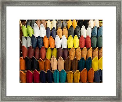 Handmade Leather Slippers For Sale Framed Print by Panoramic Images