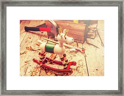 Handmade Xmas Rocking Toy Framed Print by Jorgo Photography - Wall Art Gallery