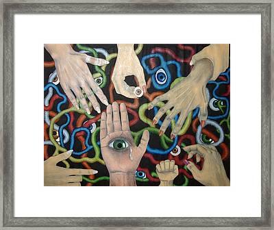 Hands And Eyes Framed Print by Nancy Mueller