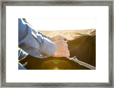 Hands On The Reins Framed Print by Todd Klassy