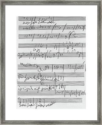 Handwritten Musical Score Framed Print by Beethoven