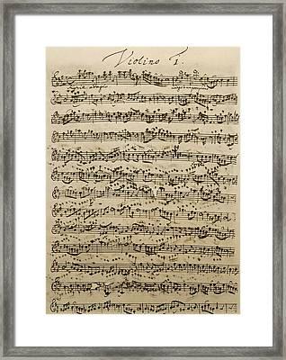 Handwritten Score For Mass In B Minor Framed Print by Johann Sebastian Bach