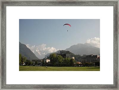 Hang Gliding In Interlaken Switzerland  Framed Print by Marilyn Dunlap