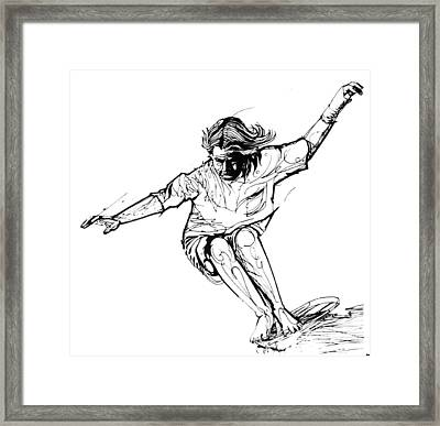 Hang Ten Skate B And W  Framed Print by Andoni Galdeano
