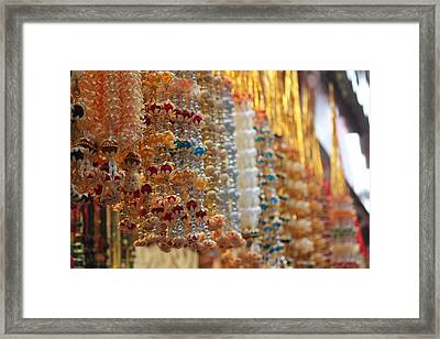 Hanging Beaded Flower Malas, Haridwar Framed Print by Jennifer Mazzucco
