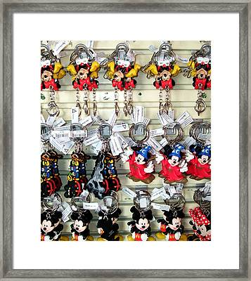 Hanging Out With Mickey And Minnie Framed Print by Mindy Newman