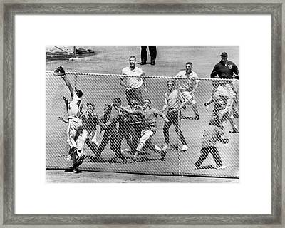 Hank Aaron In  Action Framed Print by Underwood Archives