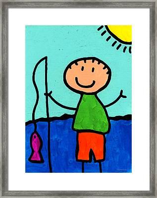 Happi Arte 2 - Boy Fish Art Framed Print by Sharon Cummings