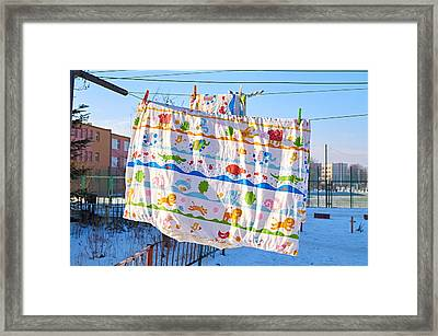 Happiness In Duvet Framed Print by Tgchan
