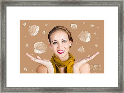 Happy Autumn Woman With Spread Hands Framed Print by Jorgo Photography - Wall Art Gallery