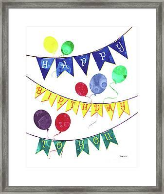 Happy Birthday Flag Framed Print by Debbie DeWitt