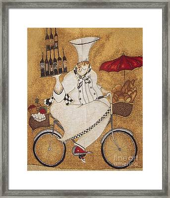 Happy Chef On The Bike Framed Print by Vesna Antic