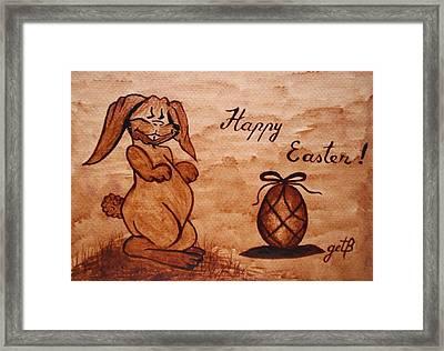 Happy Easter Coffee Painting Framed Print by Georgeta  Blanaru
