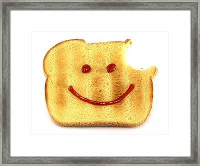 Happy Face And Bread Framed Print by Blink Images