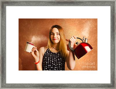 Happy Girl Serving Up Hot Coffee Beverage Framed Print by Jorgo Photography - Wall Art Gallery