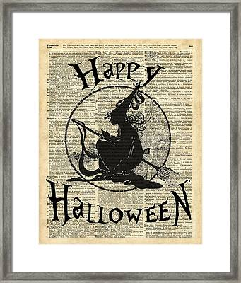 Happy Halloween Witch With Broom Dictionary Artwork Framed Print by Jacob Kuch