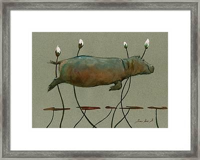Happy Hippo Swimming Framed Print by Juan  Bosco