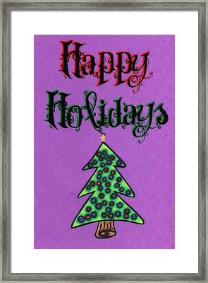 Happy Holidays Purple Framed Print by Mandy Shupp
