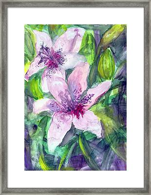 Happy Lilies After The Rain Framed Print by Claudia Smaletz