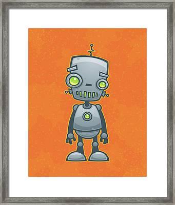 Happy Robot Framed Print by John Schwegel