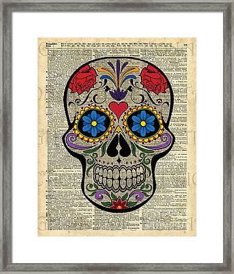 Happy Skull,sugar Skull,dia De Los Muertos,halloween Artwork Framed Print by Jacob Kuch