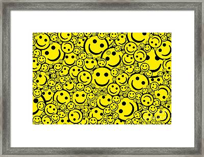 Happy Smiley Faces Framed Print by Tim Gainey