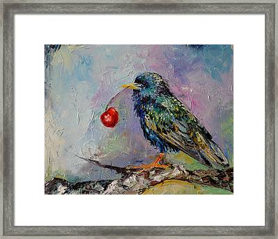 Happy Starling, Cherry And Starling Modern Original Oil Painting Framed Print by Soos Roxana Gabriela