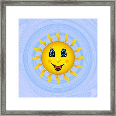 Happy Sun On Blue Sky Framed Print by Miroslav Nemecek