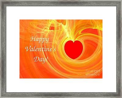 Happy Valentine Day Fractal Design Greeting Card Framed Print by Yali Shi