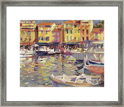 Harbor At Cassis Framed Print by Peter Graham