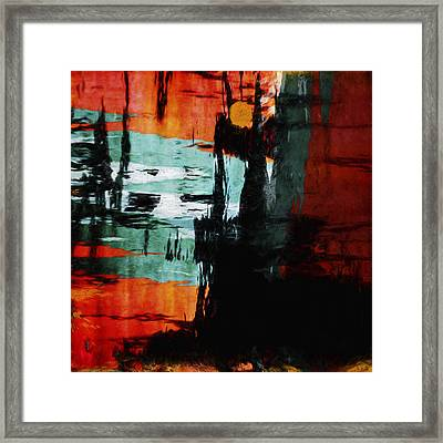 Harbor Lights Water Reflections Painterly Framed Print by Carol Leigh