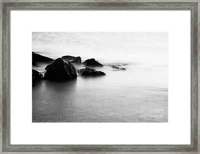 Harbor Rocks And Misty Ocean I Framed Print by Charmian Vistaunet