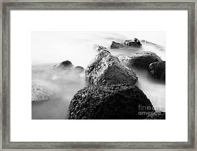 Harbor Rocks And Misty Ocean II Framed Print by Charmian Vistaunet